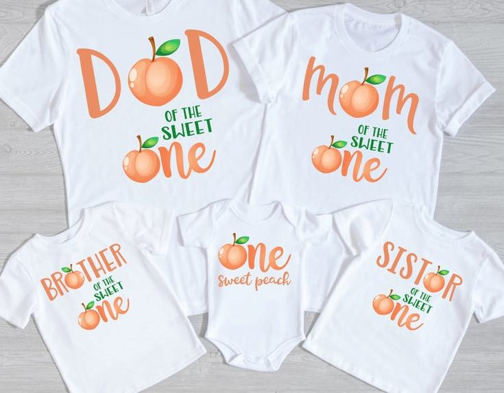 Sweet Peach Family 1st Birthday Shirts for Baby Girl