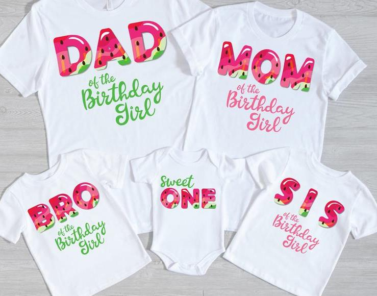 One in a Melon Family 1st Birthday Shirts for Baby Girl