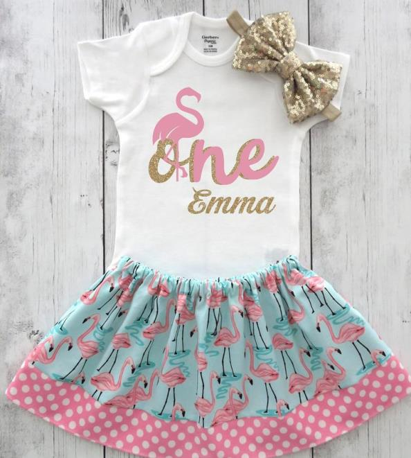 Personalized Flamingo First Birthday Outfit