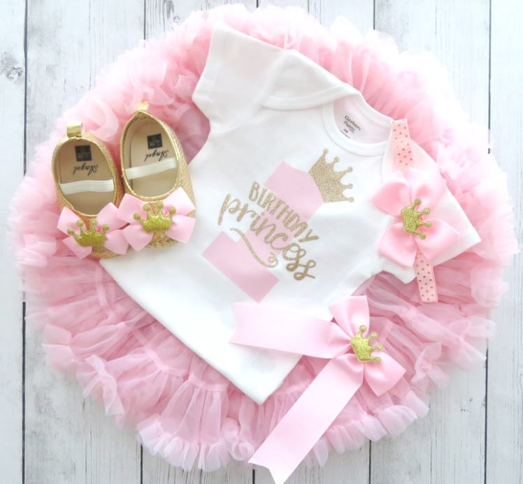 Pink & Gold Birthday Princess 1st Birthday Outfit