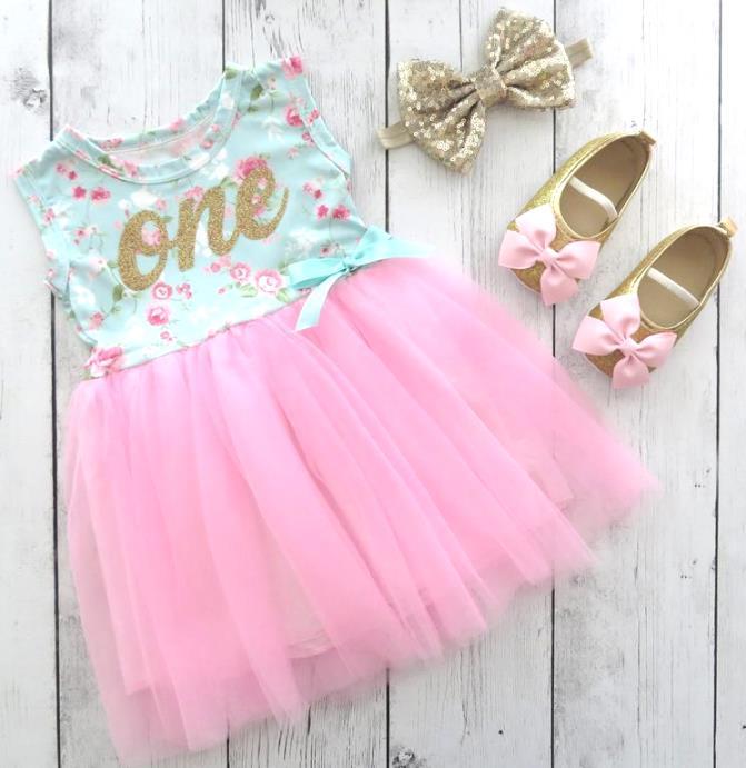 Aqua & Pink Floral 1st Birthday Dress