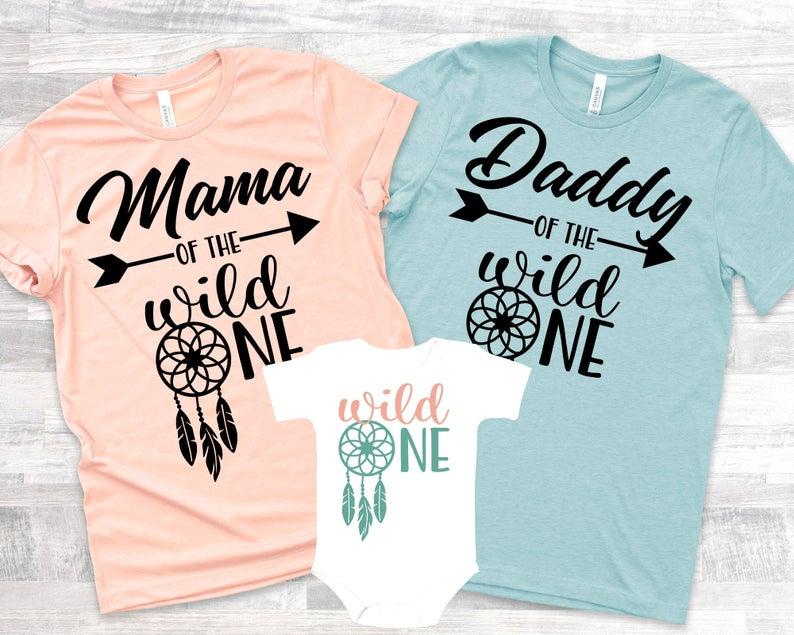 Wild One Dreamcatcher Family 1st Birthday Shirts for Baby Girl