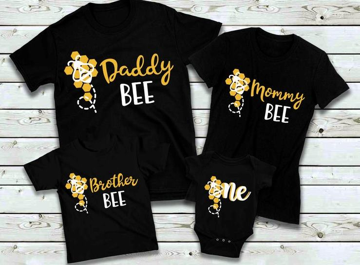 Bumble Bee Family 1st Birthday Shirts for Baby