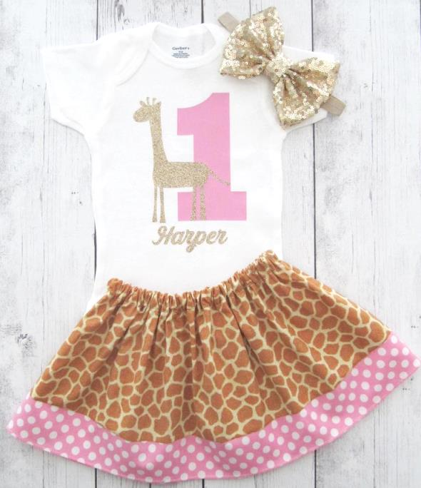 Pink Giraffe Personalized 1st Birthday Outfit
