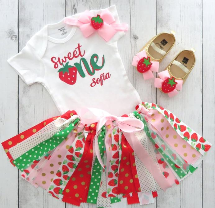 Sweet One Strawberry First Birthday Tutu Outfit