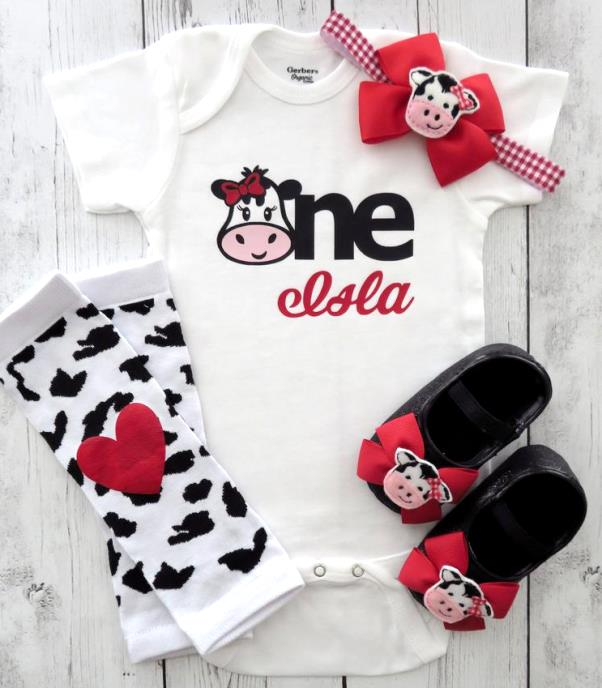Baby Girls Personalized Red Cow 1st Birthday Bodysuit