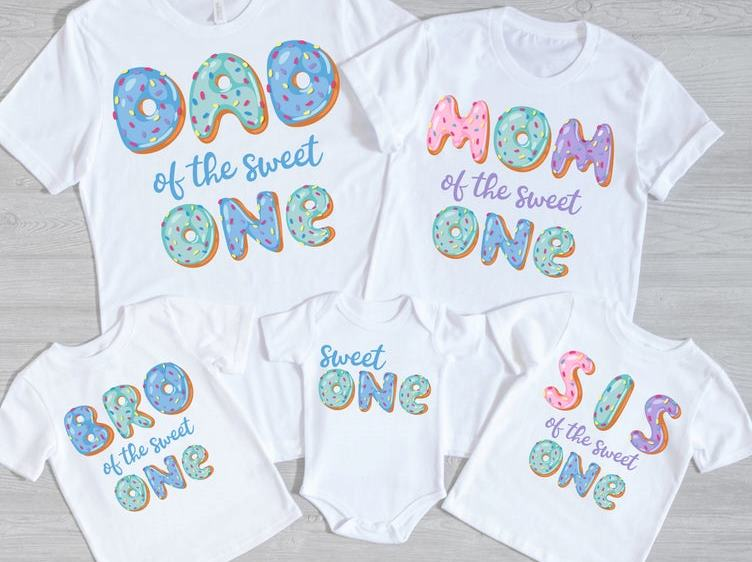 Sweet One Donut Family 1st Birthday Shirts for Baby Boy