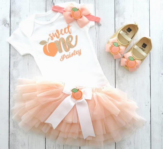 Personalized Sweet One Peaches First Birthday Tutu Outfit