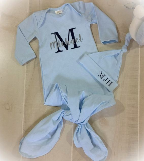 Boys Baby Blue & Navy Personalized Tie Bottom Gown with Hat