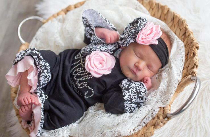 Black & Pink Couture Damask Hello World Ruffle Romper with Headband