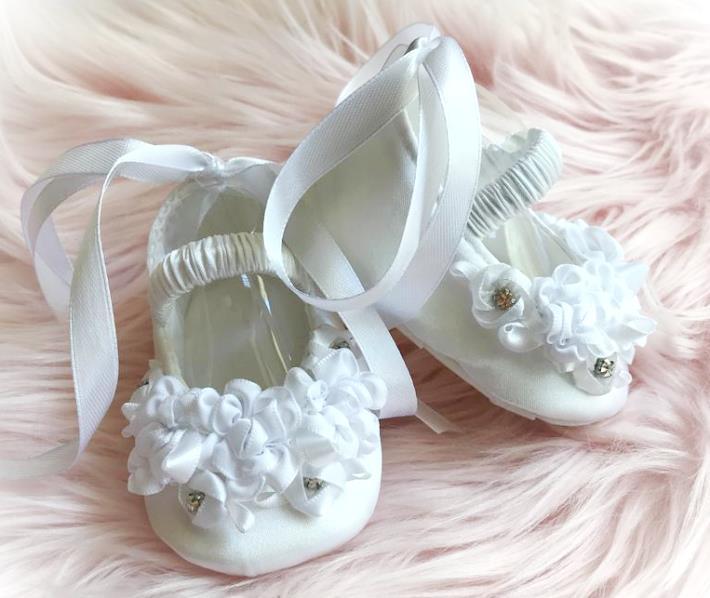 White Couture Sparkle Rosette Newborn Girl Crib Shoes