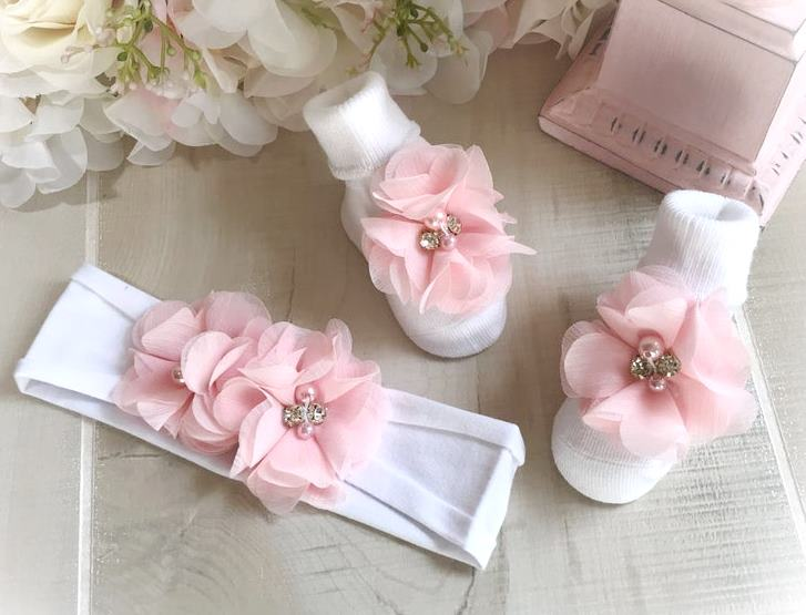 Pink & White Couture Beaded Flower Headband & Socks Set