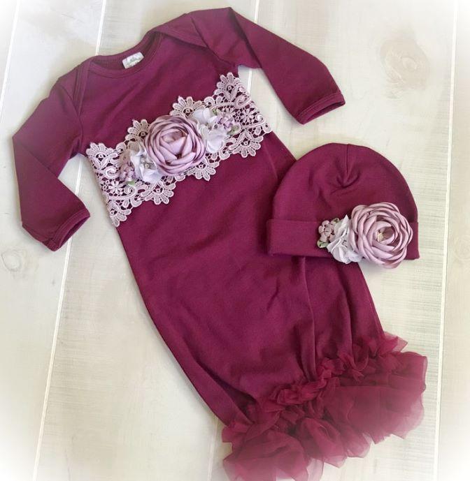 Newborn Couture Wine Chiffon Ruffle Gown with Matching Hat
