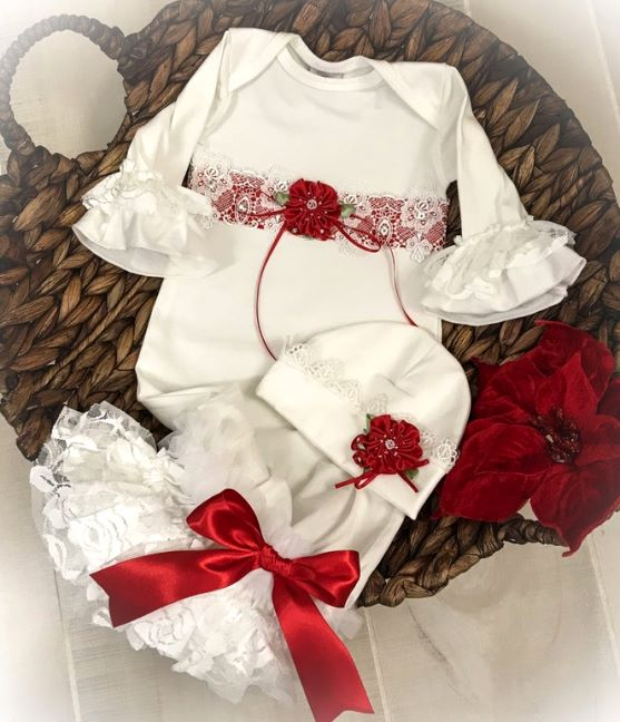 Christmas Couture Red & Off White Newborn Lace Gown with Matching Hat