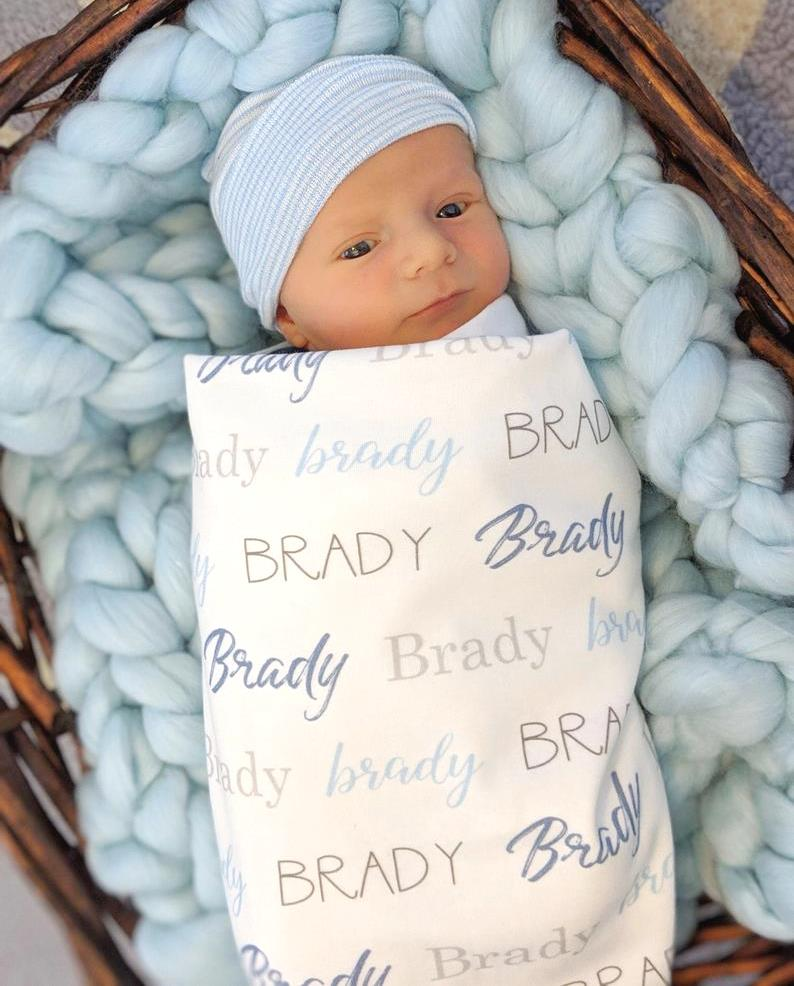 Boys Personalized Gray & Blue Swaddle Blanket