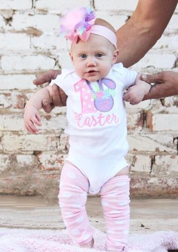 1st Easter Pastel Floral Bunny Bodysuit