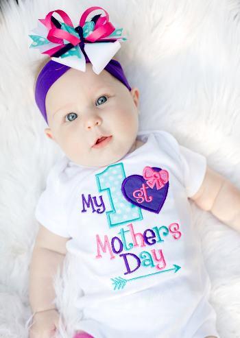 Purple, Pink & Aqua My 1st Mothers Day Bodysuit