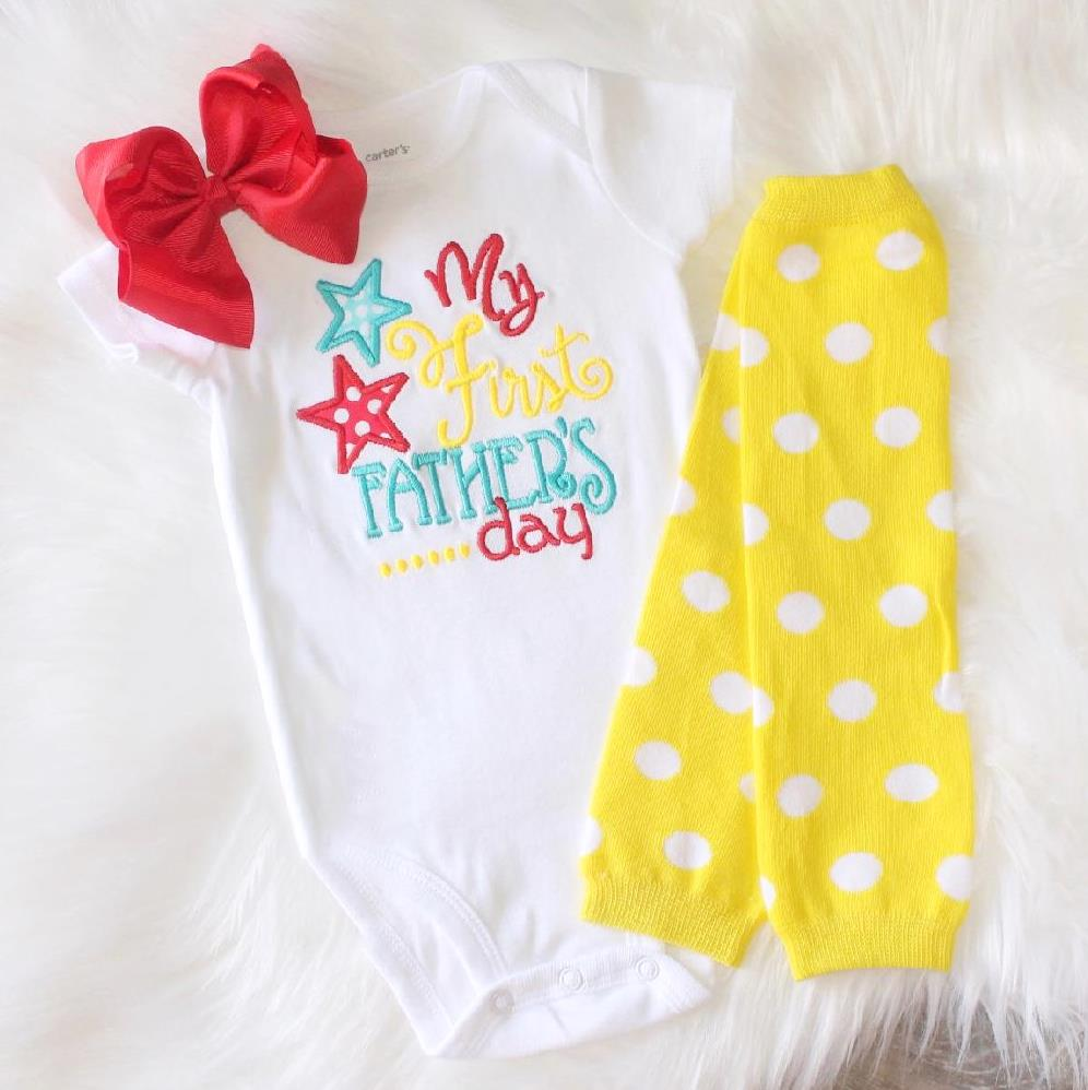Girls Red & Yellow My First Father's Day Bodysuit