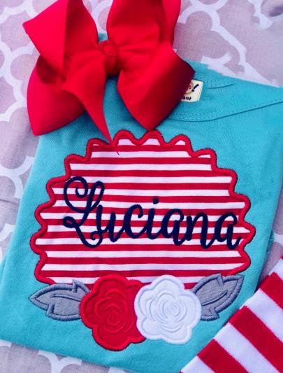 Girls Personalized Striped Flower Patriotic Bodysuit