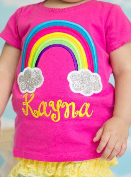 Hot Pink Personalized Bright Rainbow Shirt