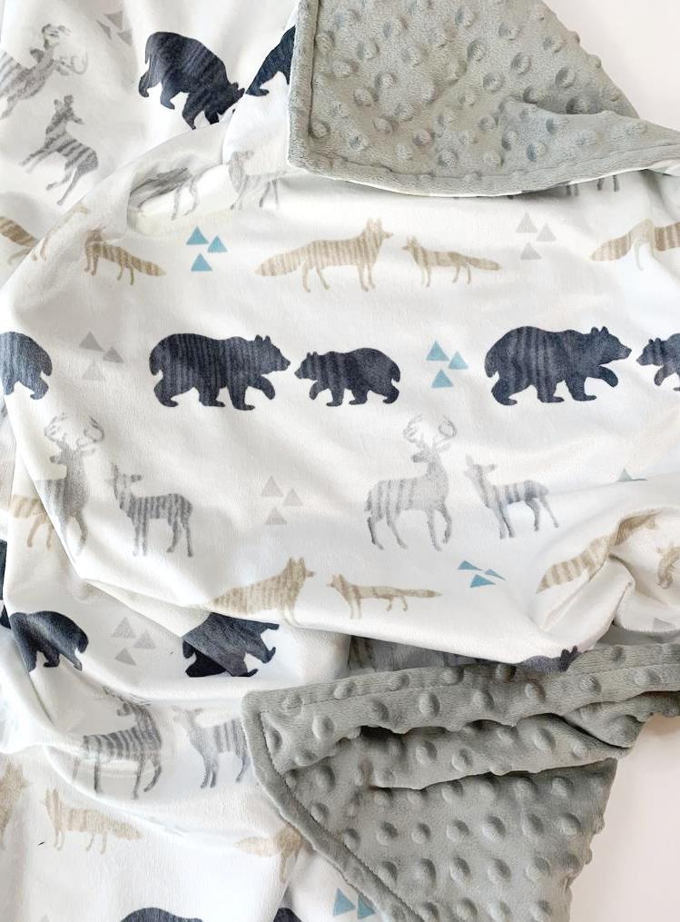Baby Boys Winter Animals Personalized Grey Minky Blanket