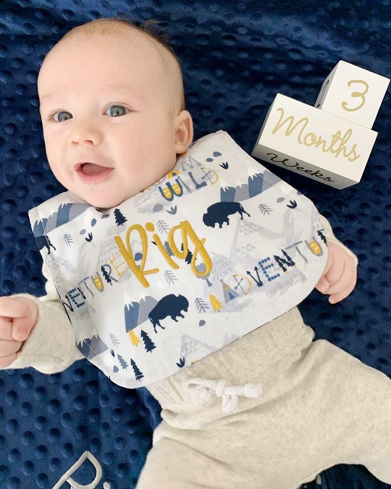 Baby Boy Personalized Adventurer Bib & Burp Cloth Gift Set