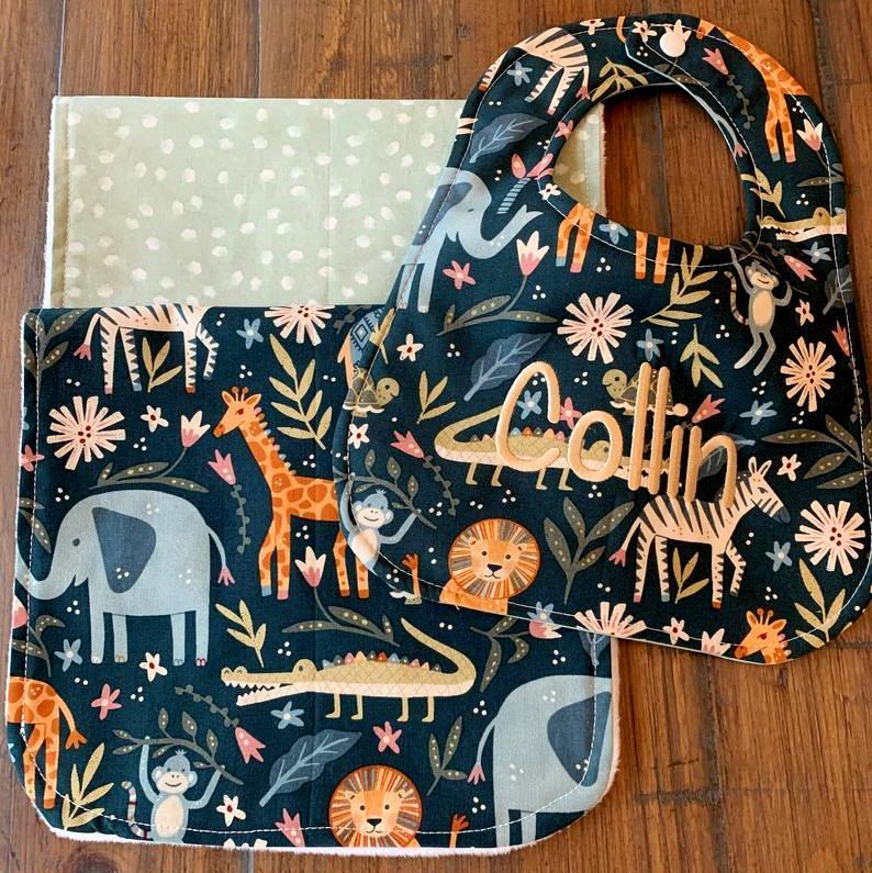 Baby Boy Personalized Jungle Animals Bib & Burp Cloth Gift Set