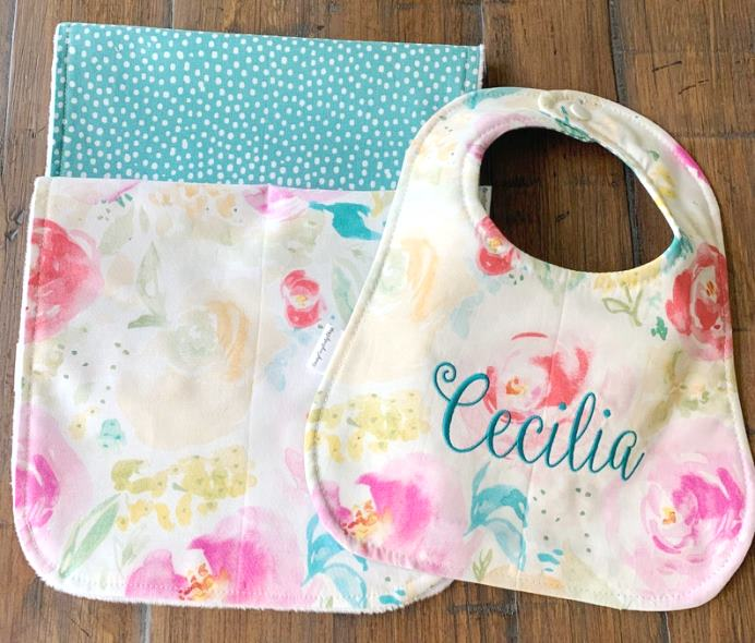 Teal Dot & Floral Personalized Bib & Burp Cloth Set