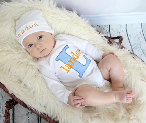 Baby Boys Personalized Blue & Orange Bodysuit