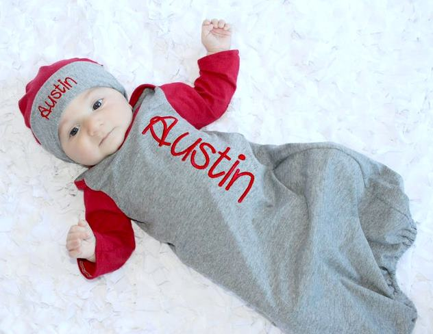 Boys Personalized Newborn Red & Gray Gown with Matching Hat
