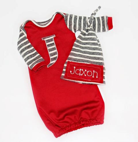 Boys Red & Gray Personalized Newborn Gown and Hat
