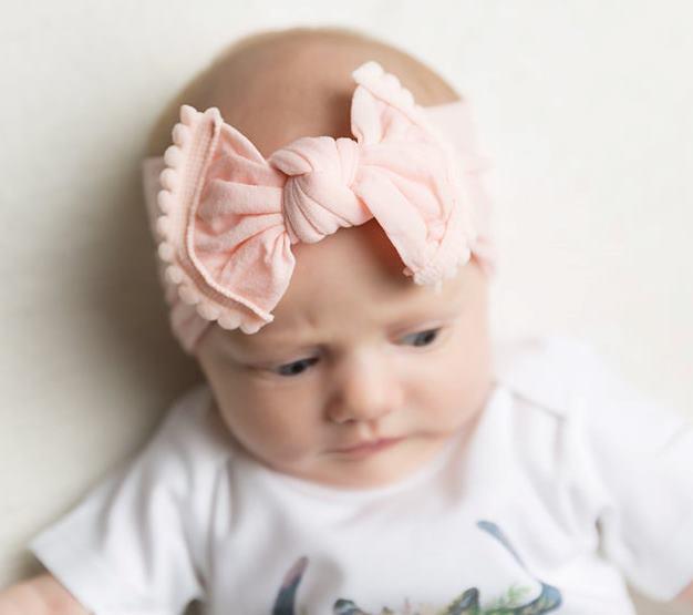 Choose Color - Solid Nylon Pom Pom Bow Headband