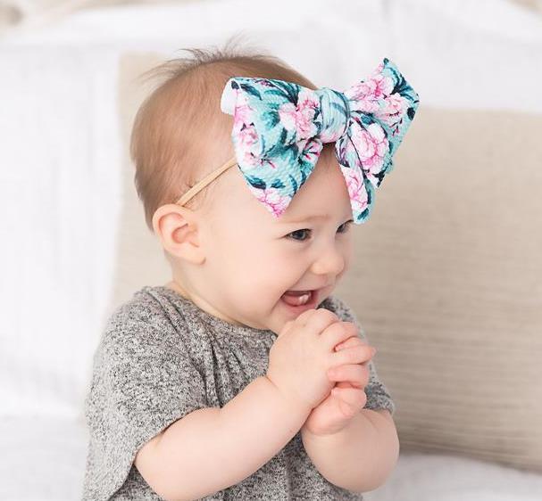 Choose Color - Skinny Floral Nylon Messy Bow Headwrap Headband