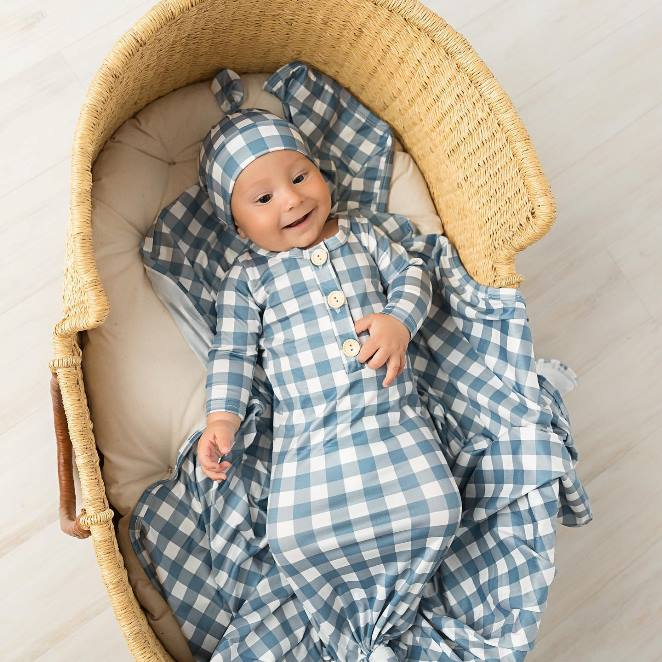 Baby Boys Blue Gingham Knotted Gown