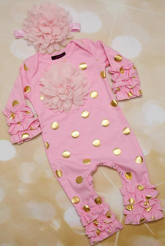 Pink and Gold Polka Dot Infant Layette Baby Romper and Headband Outfit Set