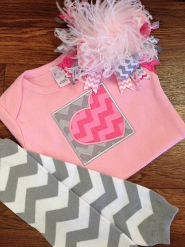 Pink & Grey Chevron Heart Shirt