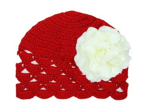 Bright Red & White Geranium Crochet Flower Hat