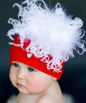 Santa Baby Curly Ostrich Feather Hat