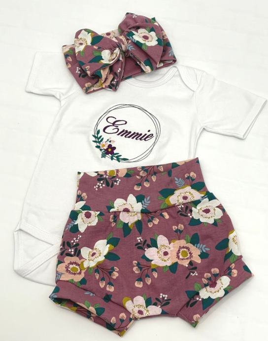 Baby Girls Personalized Plum Floral Onesie