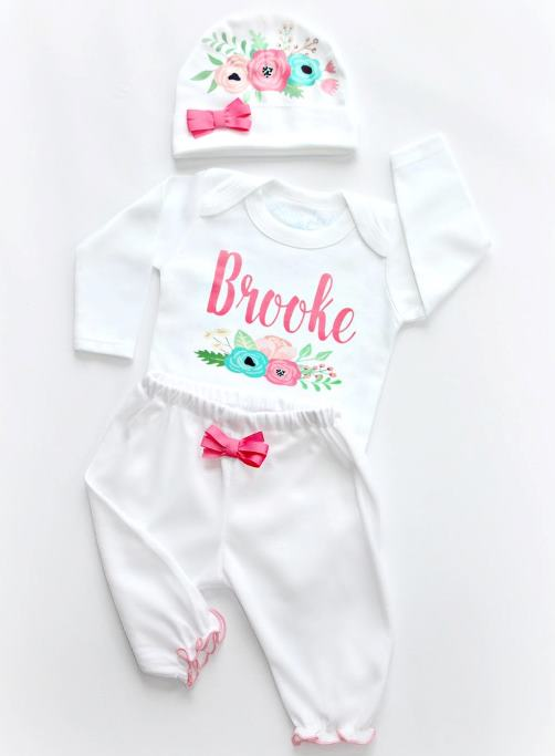 Summer Florals Personalized Bodysuit Outfit