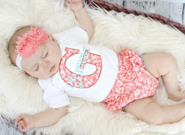 Coral & Teal Personalized 3pc. Summer Outfit