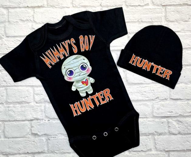 Personalized Mummy's Boy Onesie with Matching Hat