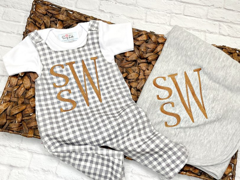 Baby Boys Gingham Personalized Fall Romper Outfit