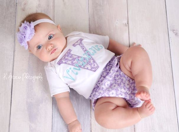Baby Girls Lavender & Teal Personalized 3pc. Outfit