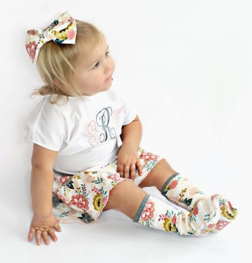 Baby Girls Monogrammed Initial Floral Gray Skirt Outfit Set