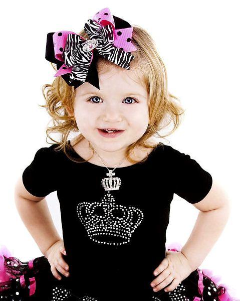 Haute Princess Pink & Black Polka Dots Crown Hair Bow Headband